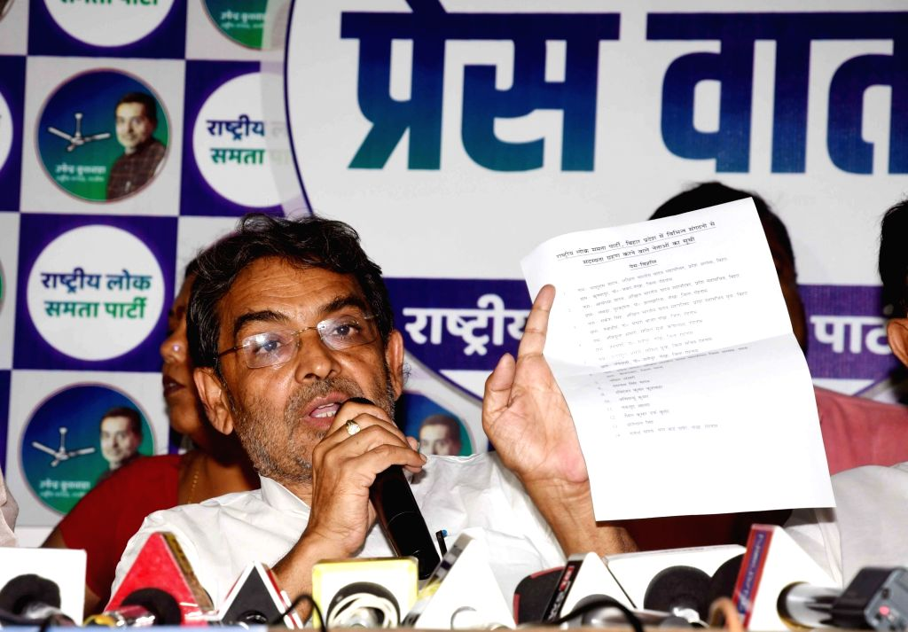 RLSP chief and former Union Minister Upendra Kushwaha addresses a press conference, in Patna on Aug 25, 2019. - Upendra Kushwaha