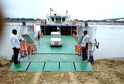 Ro Pax boat in Varanasi.