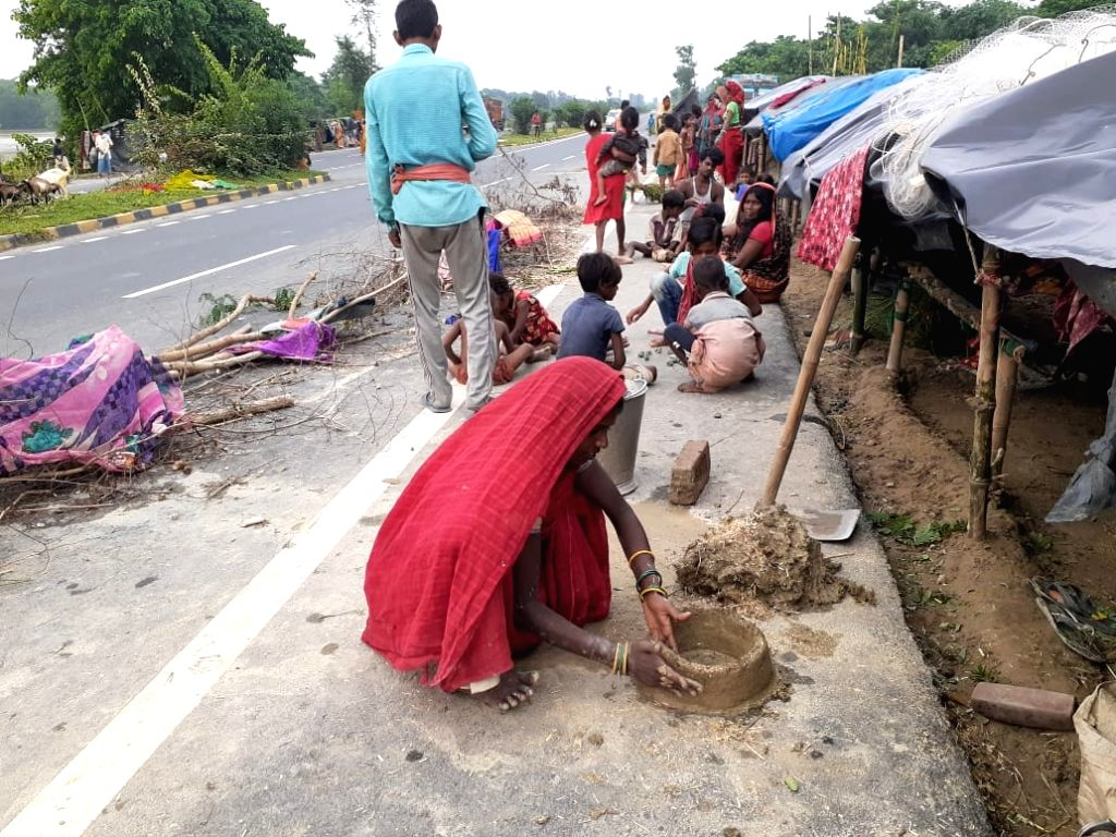 Road edge built for flood victims.