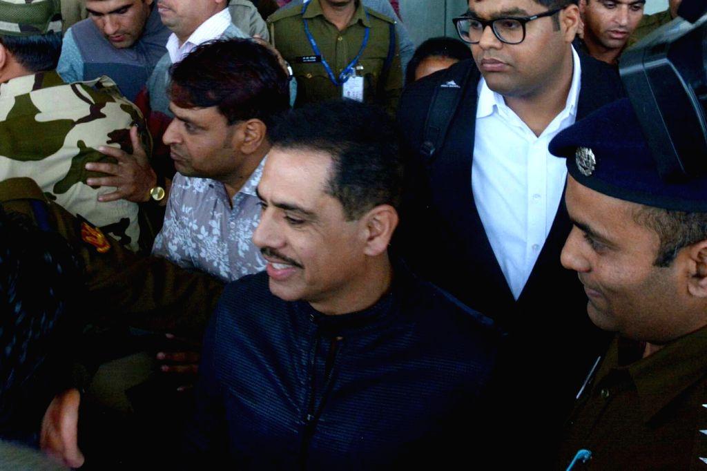 Robert Vadra, brother-in-law of Congress President Rahul Gandhi arrives at Jaipur International Airport on Feb 11, 2019. - Rahul Gandhi