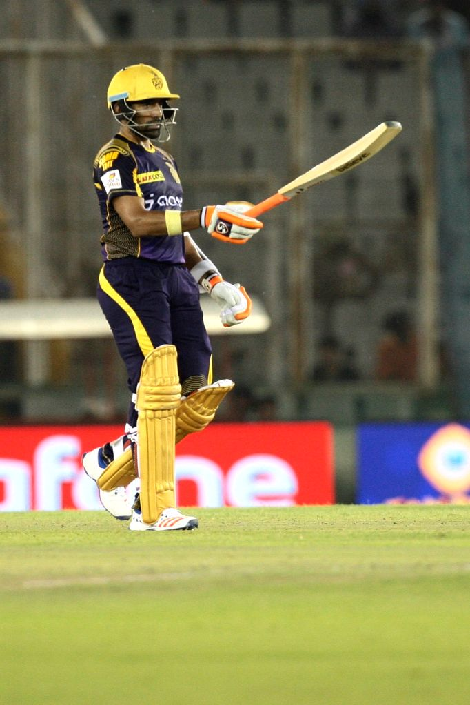 Robin Uthappa of Kolkata Knight Riders celebrates his half century during an IPL match between Kings XI Punjab and Kolkata Knight Riders at Punjab Cricket Association IS Bindra Stadium in ...