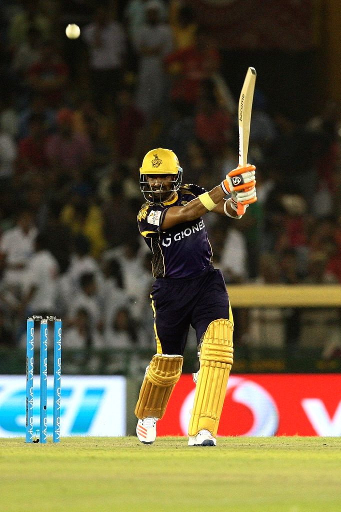 Robin Uthappa of Kolkata Knight Riders in action during an IPL match between Kings XI Punjab and Kolkata Knight Riders at Punjab Cricket Association IS Bindra Stadium in Mohali on April 19, ...