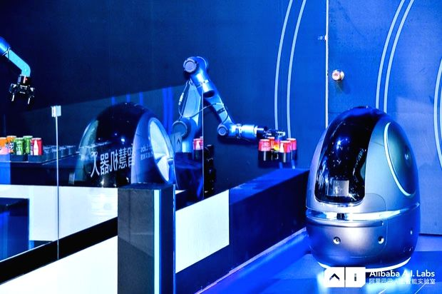 Robot which will soon serve guests at China's hotels unveiled by Alibaba Group at the company's Cloud Computing Conference 2018 in Hangzhou, China.
