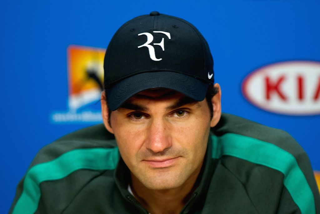 Roger Federer of Switzerland attends the pre-tournament press conference at Melbourne Park in Melbourne, Australia, Jan. 16, 2016.
