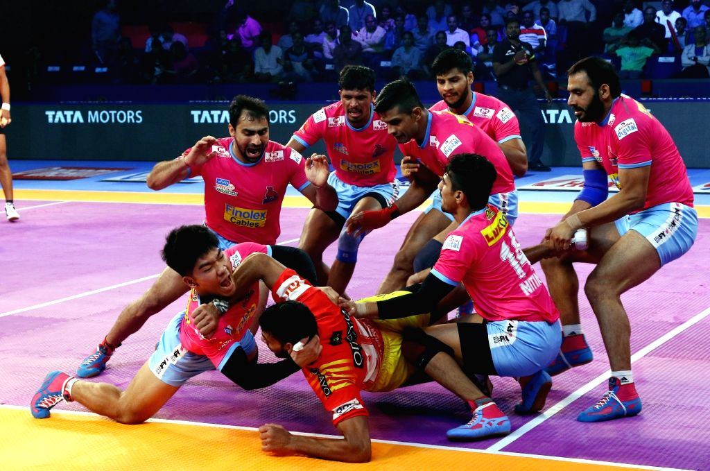 Rohit Gulia of Gujarat Fortunegiants, who was given the Perfect Raider for 6 raid points, during a Pro Kabaddi League 2018 match between Jaipur Pink Panthers and Gujarat Fortunegiants at the ...