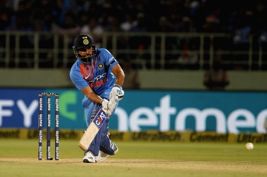 Rohit Sharma of India in action during the 1st T20I match between India and Australia at Dr. Y.S. Rajasekhara Reddy ACA-VDCA Cricket Stadium in Visakhapatnam, Andhra Pradesh on Feb 24, ... - Rohit Sharma