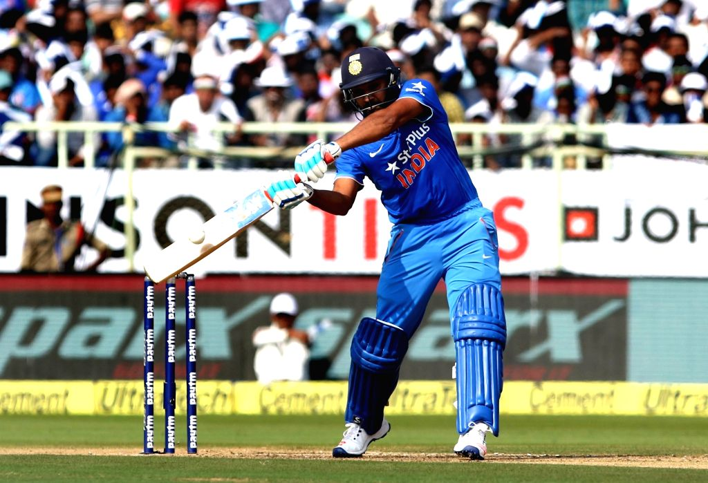 Rohit Sharma of India in action during the fifth ODI match between India and New Zealand at Dr. Y.S. Rajasekhara Reddy ACA-VDCA Cricket Stadium in Visakhapatnam on Oct 29, 2016. - Rohit Sharma