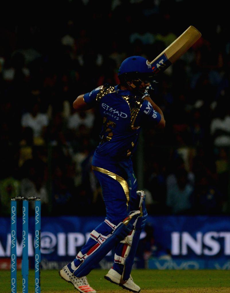 Rohit Sharma of Mumbai Indians during IPL match between  Mumbai Indians and Royal Challengers Bangalore at Wankhede Stadium in Mumbai on April 20, 2016. - Rohit Sharma