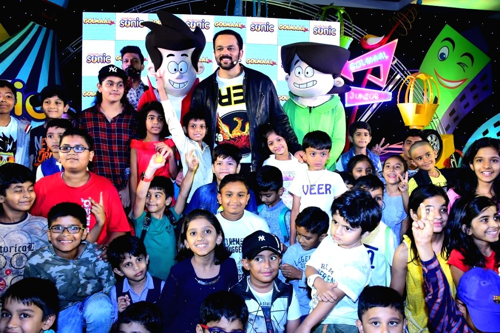 "Rohit Shetty with Nicktoons Gopal and Madhav at the launch of Sonic's animated kids show ""Golmaal Jr."" in Mumbai, on May 10, 2019. - Rohit Shetty"