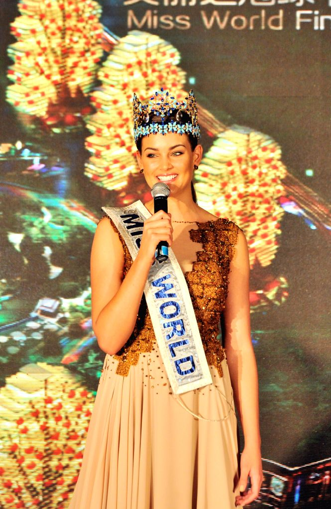 Rolene Strauss, who was crowned Miss World 2014, addresses at a press conference in Sanya, south China's Hainan Province, Aug. 6, 2015. Miss World Organization ...
