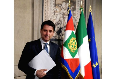 ROMA, May 23, 2018 - Giuseppe Conte addresses a press conference after meeting with Italian President Sergio Mattarella in Rome, Italy, on May 23, 2018. Italian President Sergio Mattarella on ...