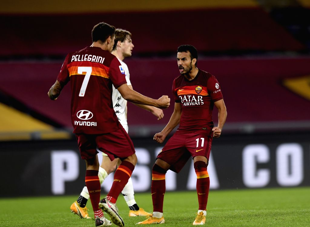 Roma's Pedro (R) celebrates his goal during the 4th round Italian Serie A football match between Roma and Benevento in Rome, Italy, Oct. 18, 2020.