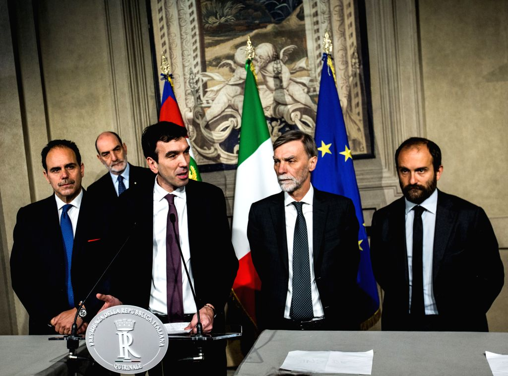 ROME, April 5, 2018 - Democratic Party member Maurizio Martina (3rd R) speaks to the media after the consultations with Italian President Sergio Mattarella (not seen in the picture) at the Quirinal ...