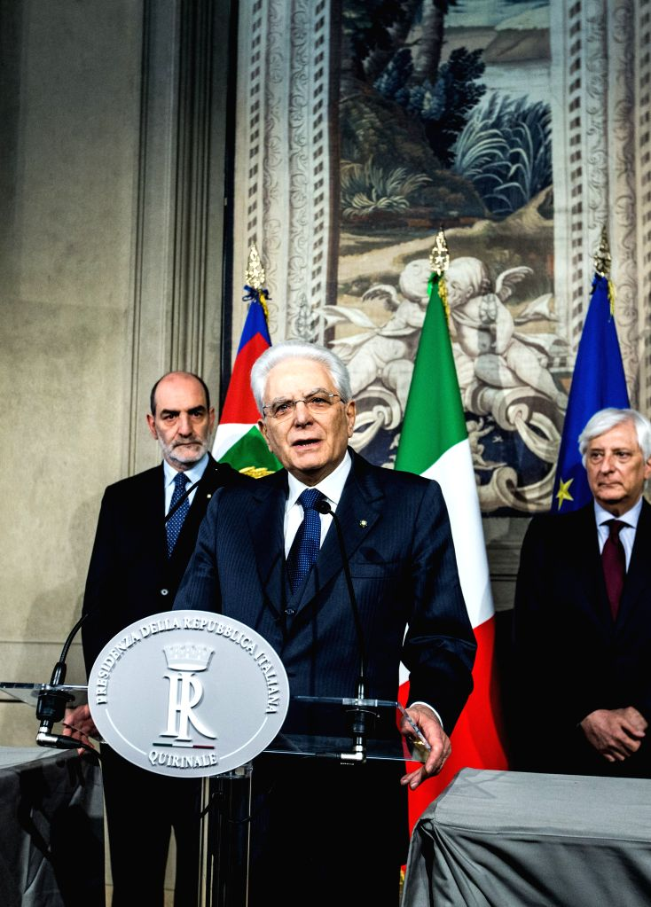 ROME, April 5, 2018 - Italian President Sergio Mattarella (C) speaks to the media after the consultations at the Quirinal Palace in Rome, capital of Italy, on April 5, 2018. The first round of ...