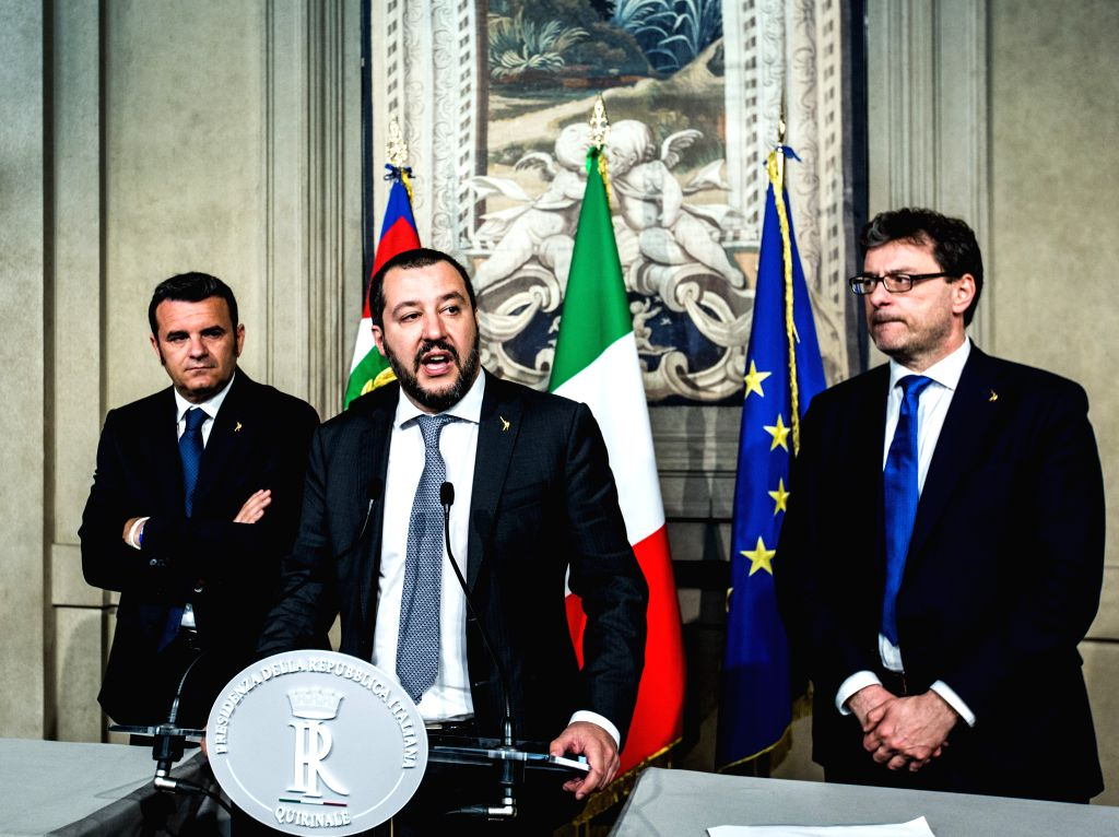ROME, April 5, 2018 - The League party leader Matteo Salvini (C) speaks to the media after the consultations with Italian President Sergio Mattarella (not seen in the picture) at the Quirinal Palace ...