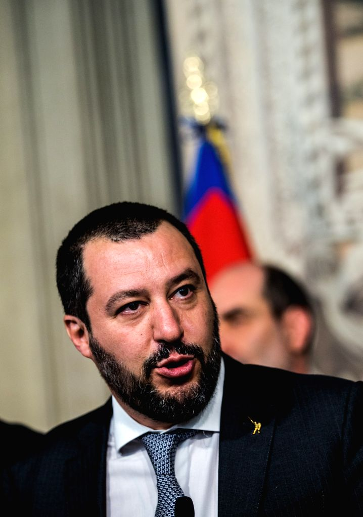 ROME, April 5, 2018 - The League party leader Matteo Salvini speaks to the media after the consultations with Italian President Sergio Mattarella (not seen in the picture) at the Quirinal Palace in ...