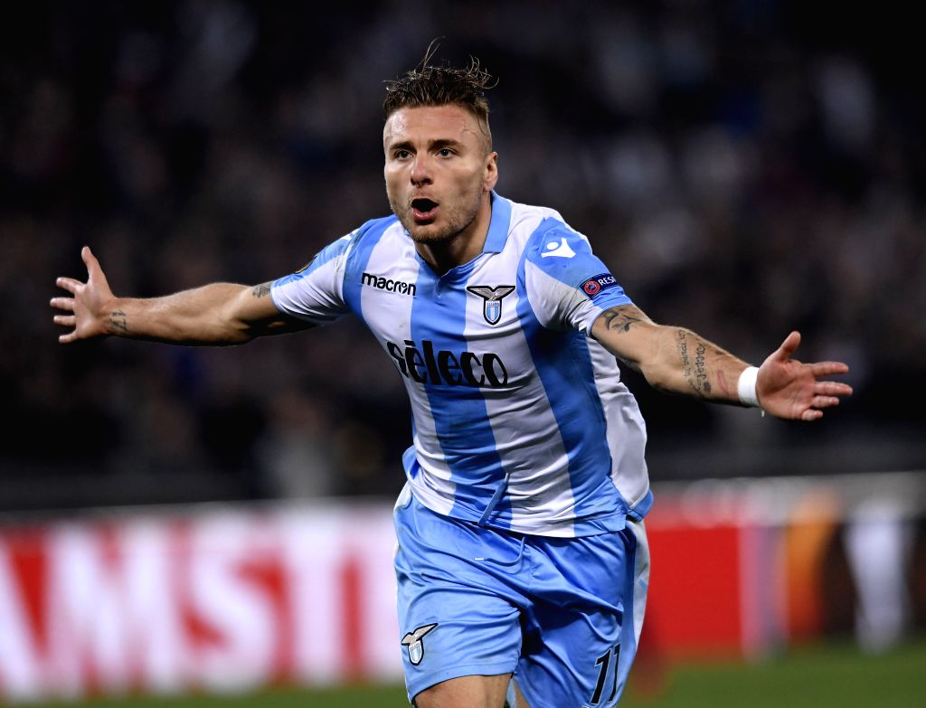 ROME, April 6, 2018 - Lazio's Ciro Immobile celebrates scoring during an Europa League quarter-finals first leg match between Lazio and Salzburg in Rome, Italy, April 5, 2018. Lazio wins 4-2.