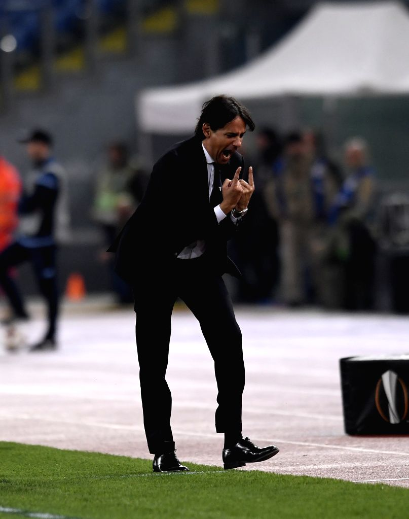 ROME, April 6, 2018 - Lazio's coach Simone Inzaghi reacts during an Europa League quarter-finals first leg match between Lazio and Salzburg in Rome, Italy, April 5, 2018. Lazio wins 4-2.