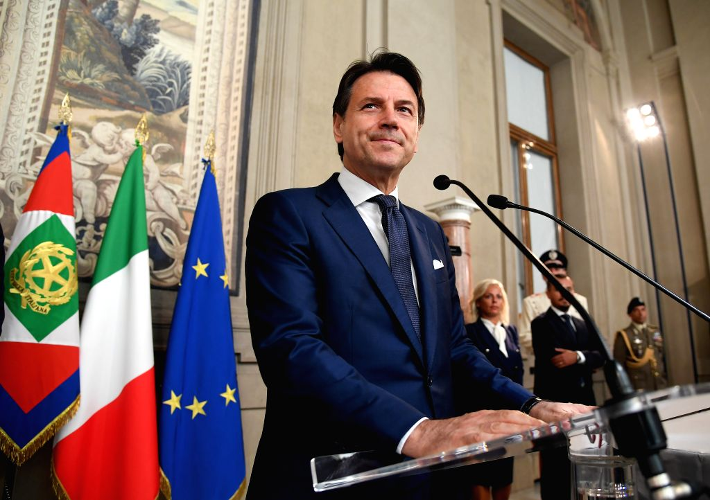 ROME, Aug. 29, 2019 - Giuseppe Conte addresses the media after talks with Italian President Sergio Mattarella at the Quirinale presidential palace in Rome, Italy, on Aug. 29, 2019. Italian President ...