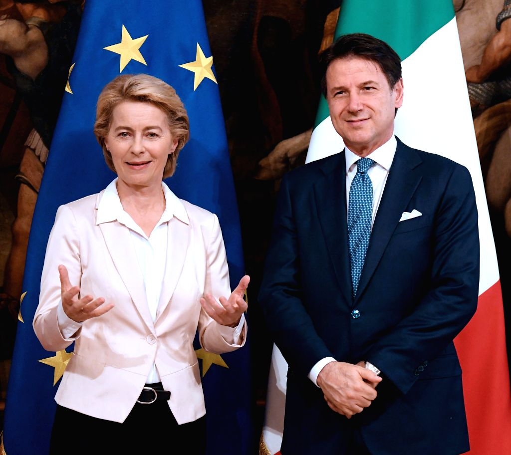 ROME, Aug. 3, 2019 - European Commission president-elect Ursula von der Leyen attends a news conference with Italian Prime Minister Giuseppe Conte (R) before their meeting in Rome, Italy, Aug. 2, ... - Giuseppe Conte