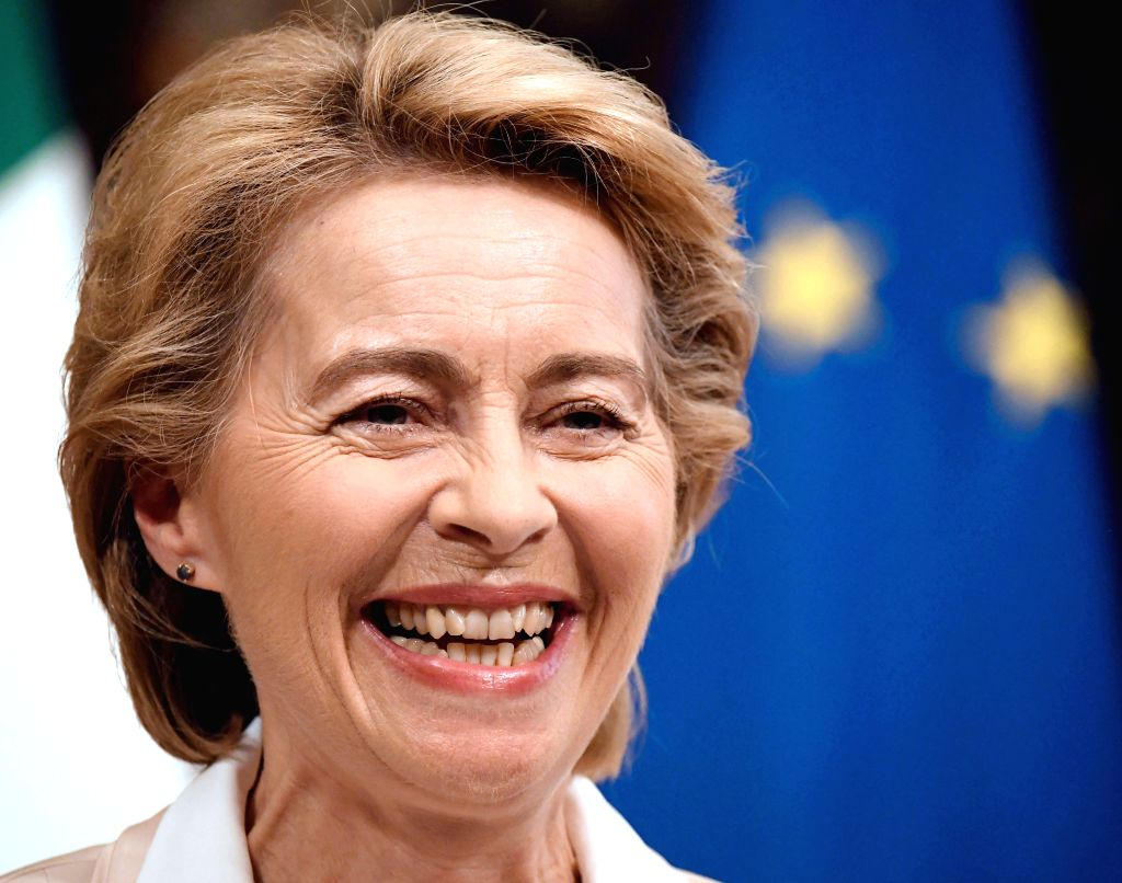 ROME, Aug. 3, 2019 - European Commission president-elect Ursula von der Leyen speaks at a news conference in Rome, Italy, Aug. 2, 2019. The European Union (EU) Commission could propose a new ... - Giuseppe Conte