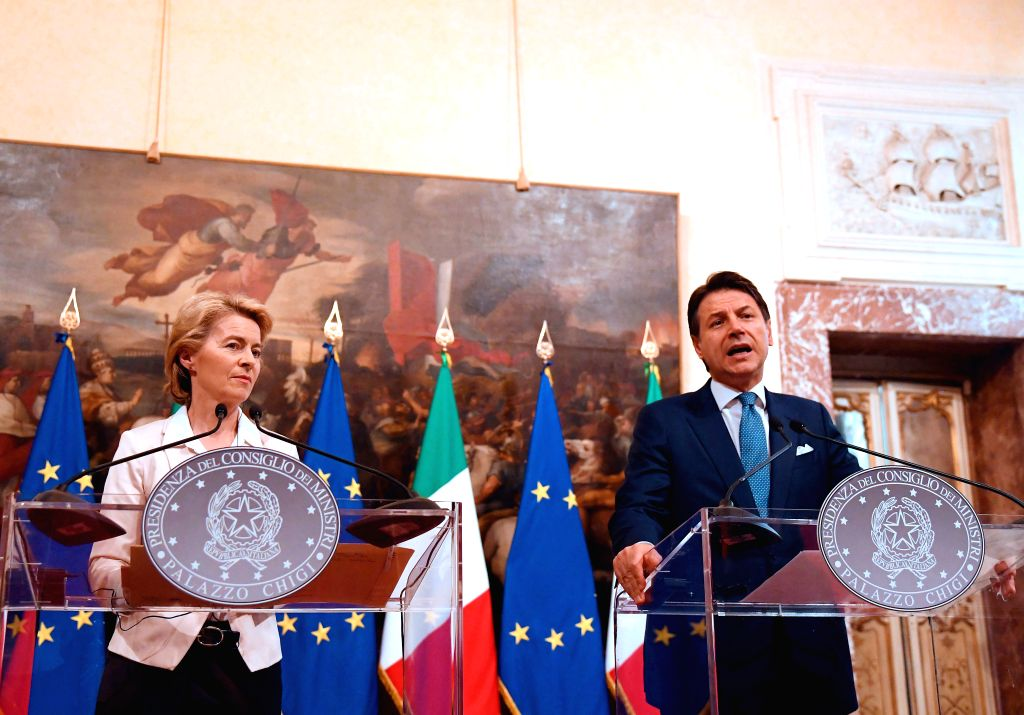 ROME, Aug. 3, 2019 - Italian Prime Minister Giuseppe Conte (R) speaks at a news conference with  European Commission president-elect Ursula von der Leyen in Rome, Italy, Aug. 2, 2019. The European ... - Giuseppe Conte