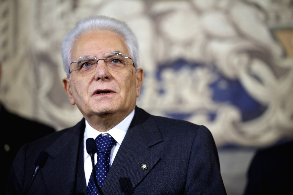 ROME, Dec. 10, 2016 (Xinhua) -- Italian President Sergio Mattarella gives a speech after the consultations at the Quirinale Palace in Rome, capital of Italy, on Dec. 10, 2016. Italian President Sergio Mattarella said Saturday he would make a decision