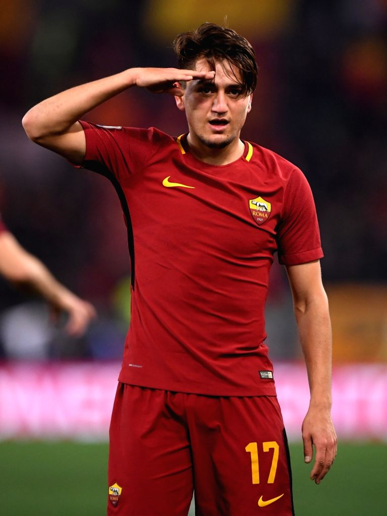 ROME, Feb. 12, 2018 - Roma's Cengiz Under celebrates during a Serie A soccer match between Roma and Benevento in Rome, Italy, Feb. 11, 2018. Roma won 5-2.