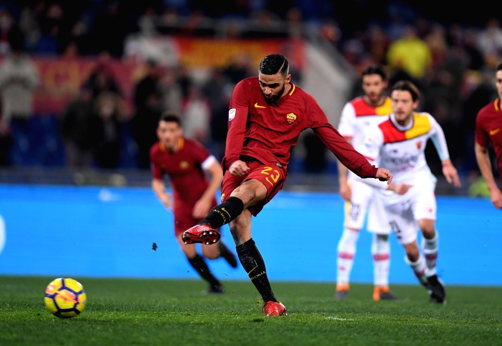 ROME, Feb. 12, 2018 - Roma's Gregoire Defrel kicks to score during a Serie A soccer match between Roma and Benevento in Rome, Italy, Feb. 11, 2018. Roma won 5-2.