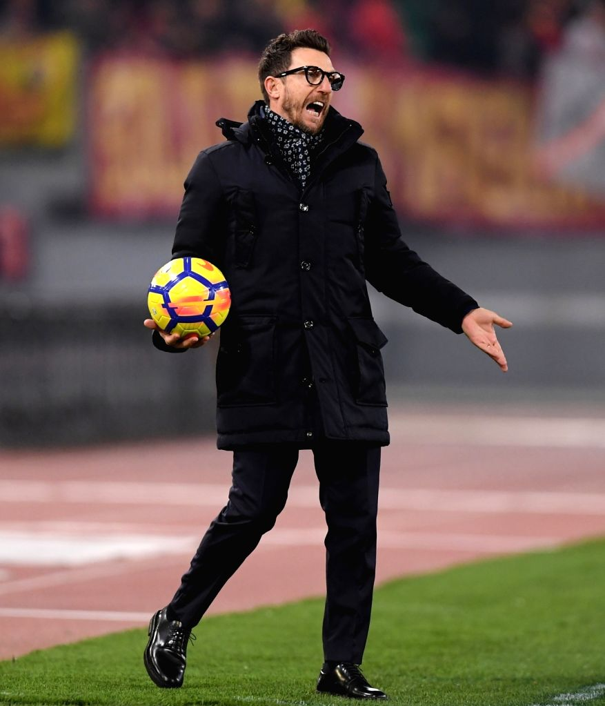 ROME, Feb. 12, 2018 - Roma's head coach Eusebio Di Francesco gestures during a Serie A soccer match between Roma and Benevento in Rome, Italy, Feb. 11, 2018. Roma won 5-2.