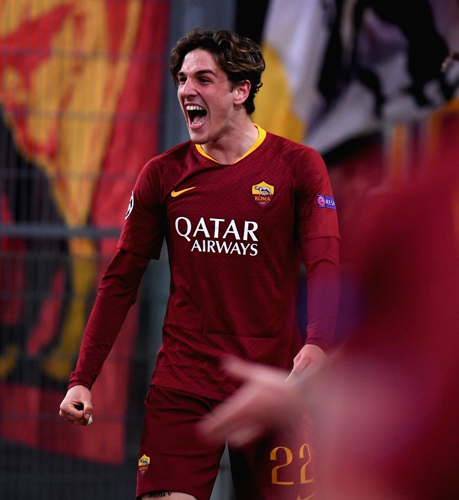 ROME, Feb. 13, 2019 - Roma's Niccolo Zaniolo celebrates after scoring during the UEFA Champions League round of 16 first leg soccer match between Roma and Porto in Rome, Italy, Feb. 12, 2019. Roma ...