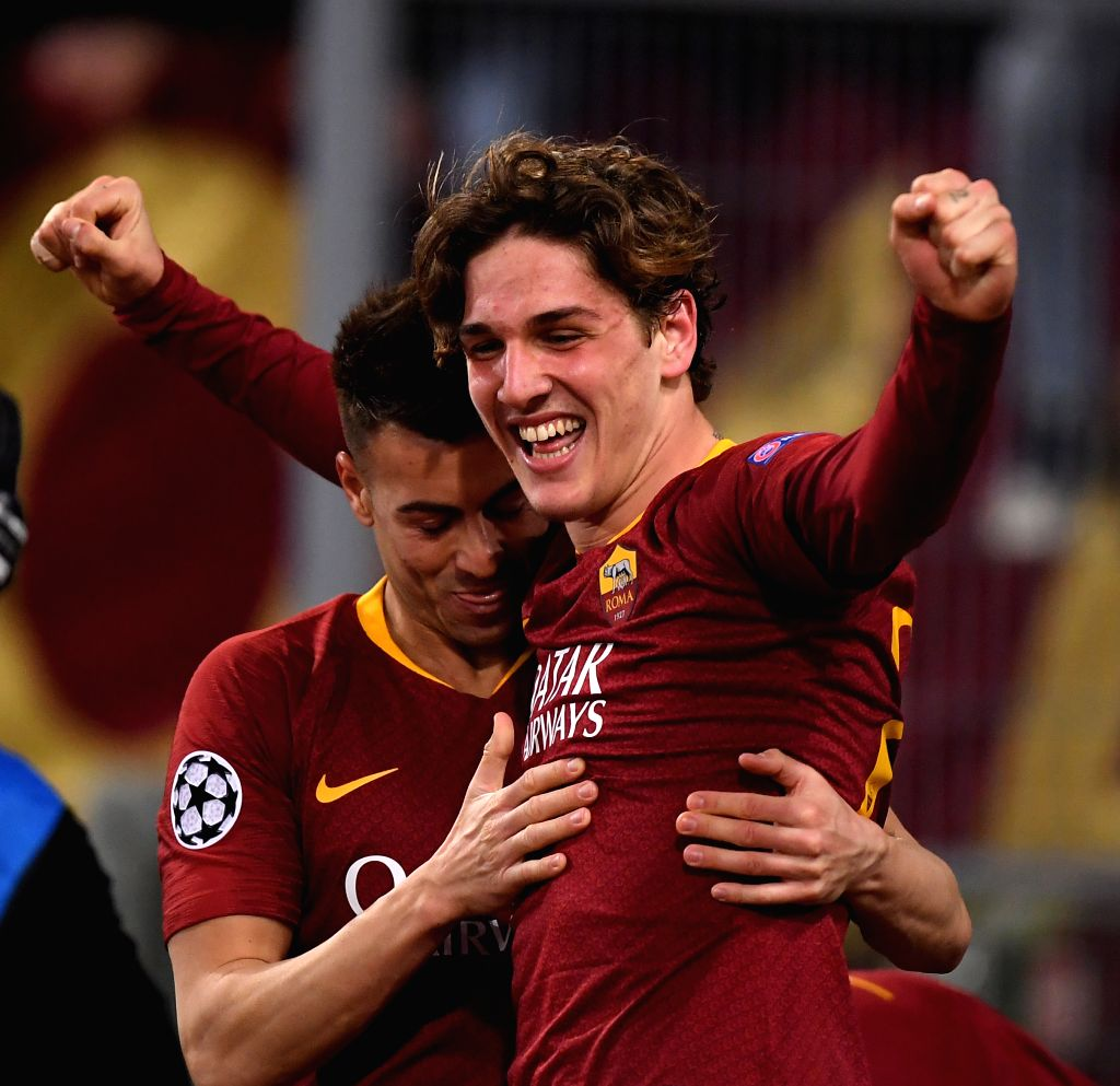 ROME, Feb. 13, 2019 - Roma's Niccolo Zaniolo (R) celebrates after scoring during the UEFA Champions League round of 16 first leg soccer match between Roma and Porto in Rome, Italy, Feb. 12, 2019. ...