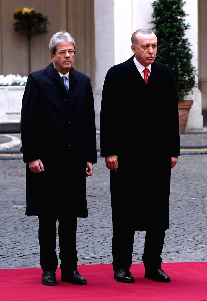 ROME, Feb. 5, 2018 - Italian Prime Minister Paolo Gentiloni (L) and visiting Turkish President Recep Tayyip Erdogan attend a welcome ceremony in Rome, Italy, on Feb. 5, 2018. Turkish President Recep ... - Paolo Gentiloni