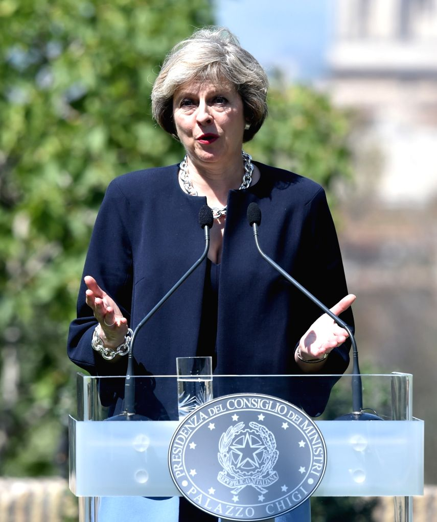 ROME, July 28, 2016 - British Prime Minister Theresa May speaks during a press conference with her Italian counterpart Matteo Renzi (not in picture) during a meeting in Rome, Italy, on July 27, 2016. ... - Theresa May