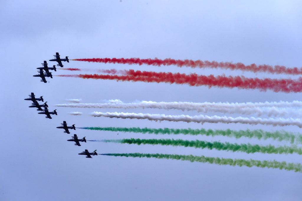 ROME, June 2, 2016 - The Italian Frecce Tricolori aerobatic squad performs during the Republic Day military parade in Rome, Italy, on June 2, 2016. After a referendum held on June 2, 1946, Italy ...