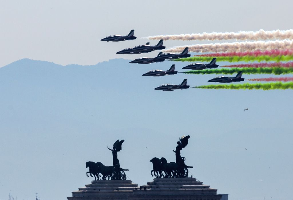 ROME, June 2, 2017 - The Italian Frecce Tricolori aerobatic squad performs during the Republic Day military parade in Rome, Italy, on June 2, 2017.