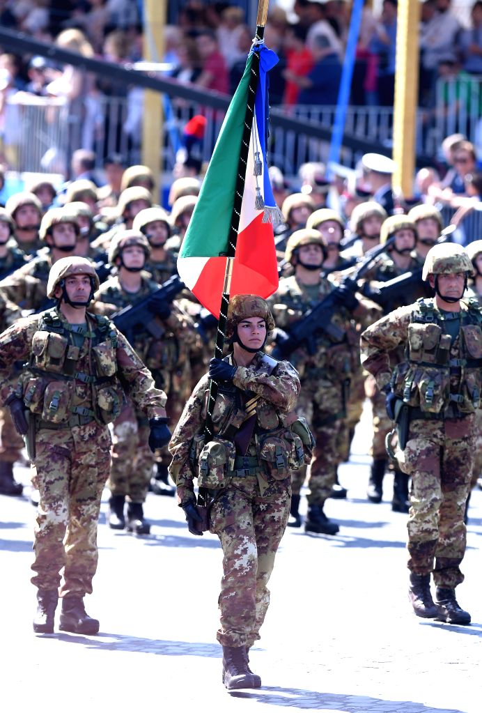 ROME, June 2, 2018 - Italian Army troops march during the ceremony marking the Republic Day in Rome, Italy, on June 2, 2018.