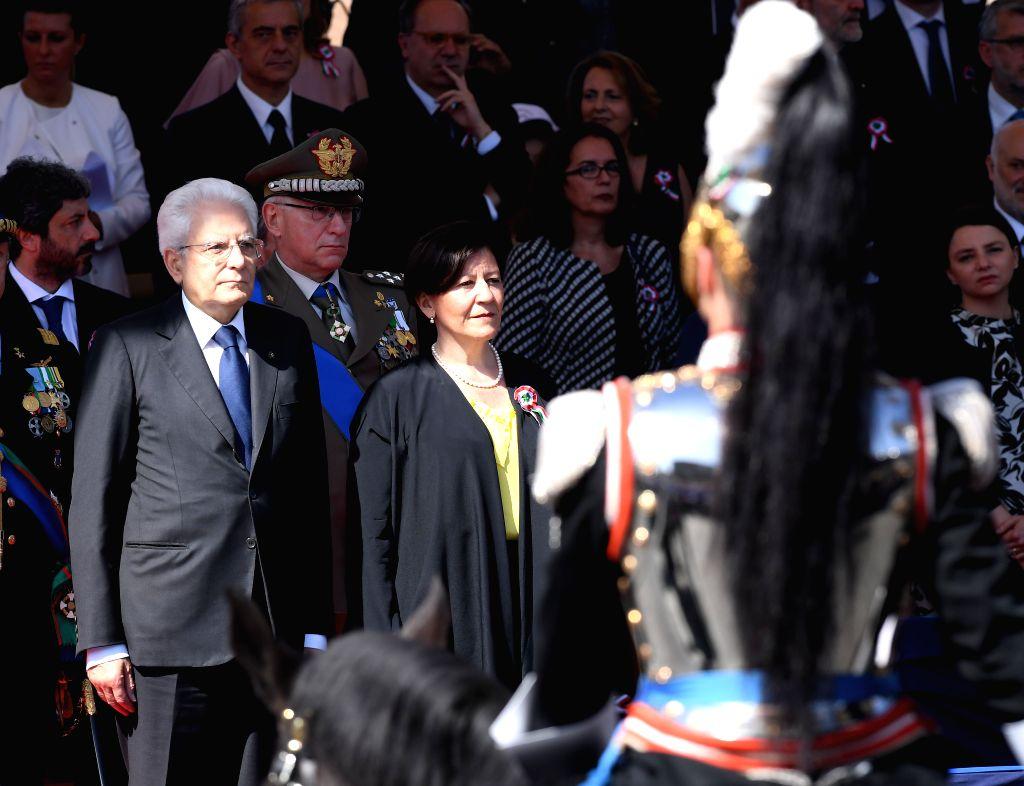 ROME, June 2, 2018 - Italian President Sergio Mattarella (L) and Defence Minister Elisabetta Trenta attend the ceremony marking the Republic Day in Rome, Italy, on June 2, 2018. - Elisabetta Trenta