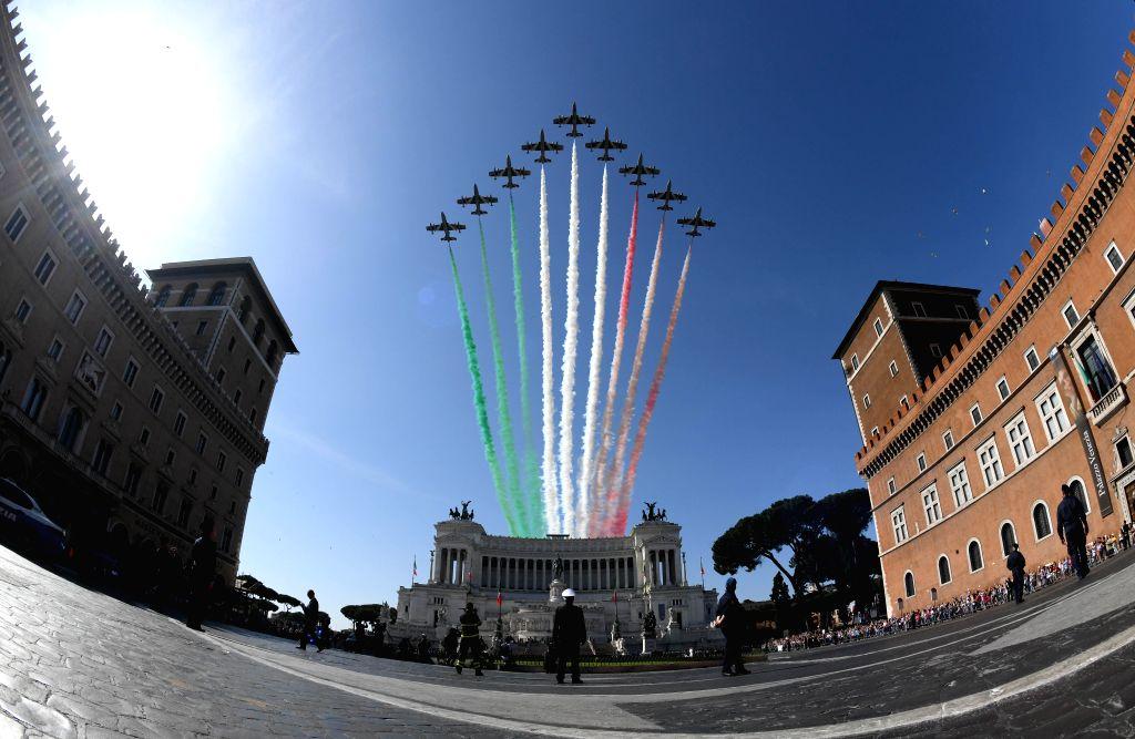ROME, June 2, 2018 - The Italian Frecce Tricolori aerobatic squad perform during the ceremony marking the Republic Day in Rome, Italy, on June 2, 2018.