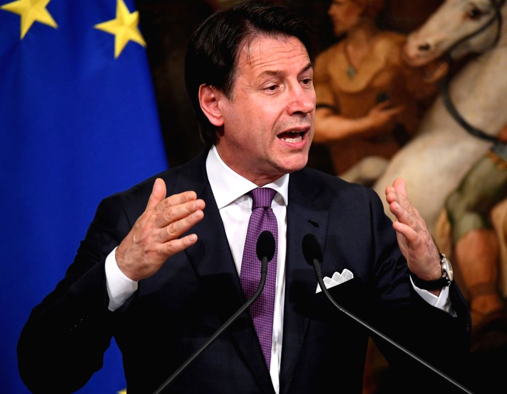ROME, June 3, 2019 (Xinhua) -- Italian Prime Minister Giuseppe Conte speaks during a press conference in Rome, Italy, June 3, 2019. Giuseppe Conte on Monday warned the two ruling coalition parties to confirm their commitment to the government program - Giuseppe Conte