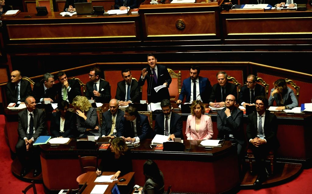 ROME, June 5, 2018 - Italian Prime Minister Giuseppe Conte (5th R, rear) speaks ahead of the confidence vote in Senate in Rome, Italy, on June 5, 2018. The new Italian government led by Prime ... - Giuseppe Conte