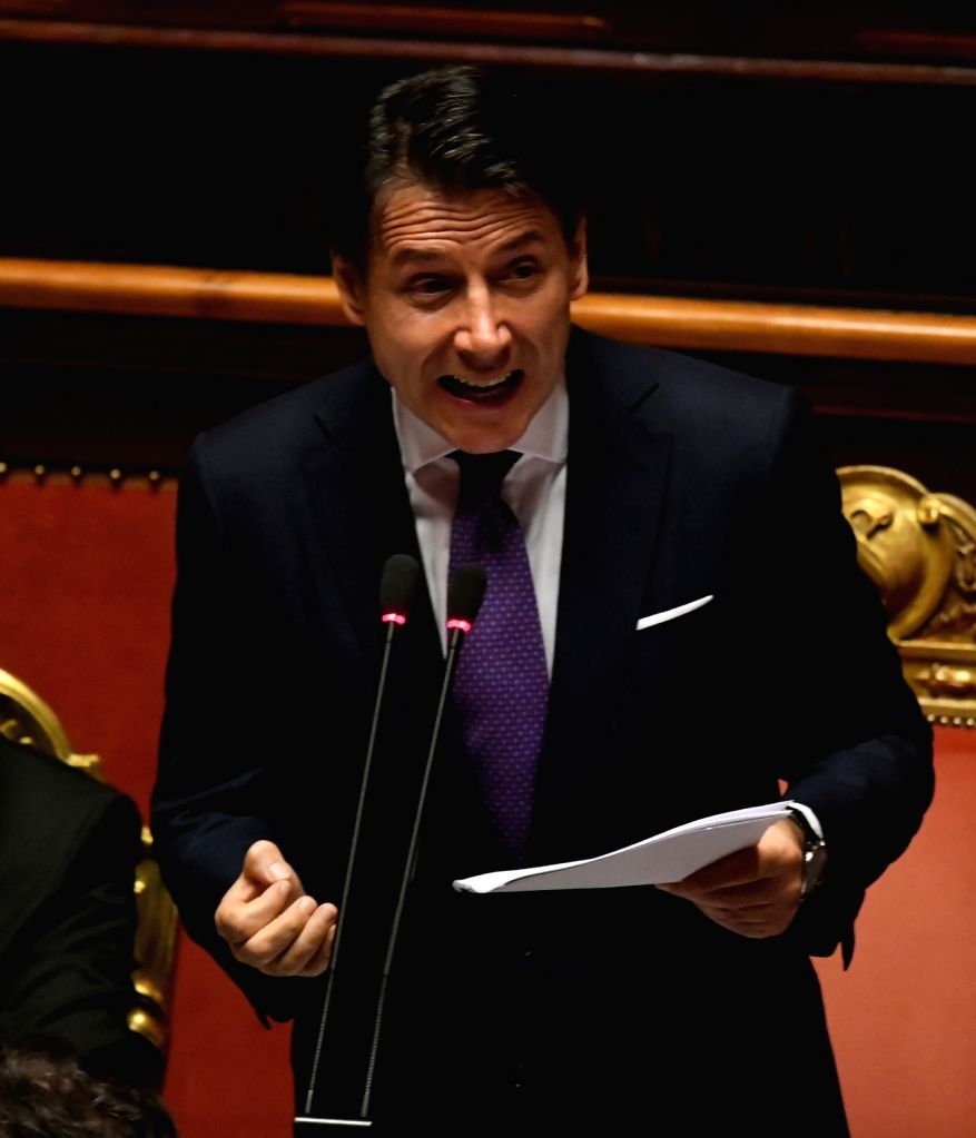 ROME, June 5, 2018 - Prime Minister Giuseppe Conte speaks ahead of the confidence vote in Senate in Rome, Italy, on June 5, 2018. The new Italian government led by Prime Minister Giuseppe Conte on ... - Giuseppe Conte