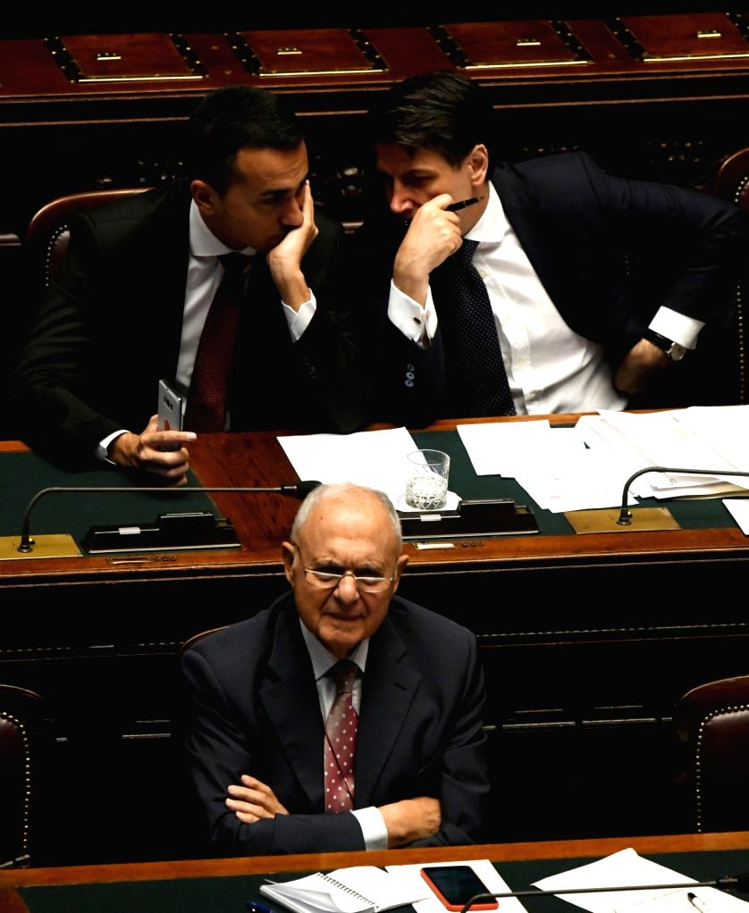 ROME, June 6, 2018 - Italian Prime Minister Giuseppe Conte (R, Top), Economic Development and Labour Minister Luigi Di Maio (L, Top), and Minister for European Affairs Paolo Savona (Bottom) are seen ... - Giuseppe Conte