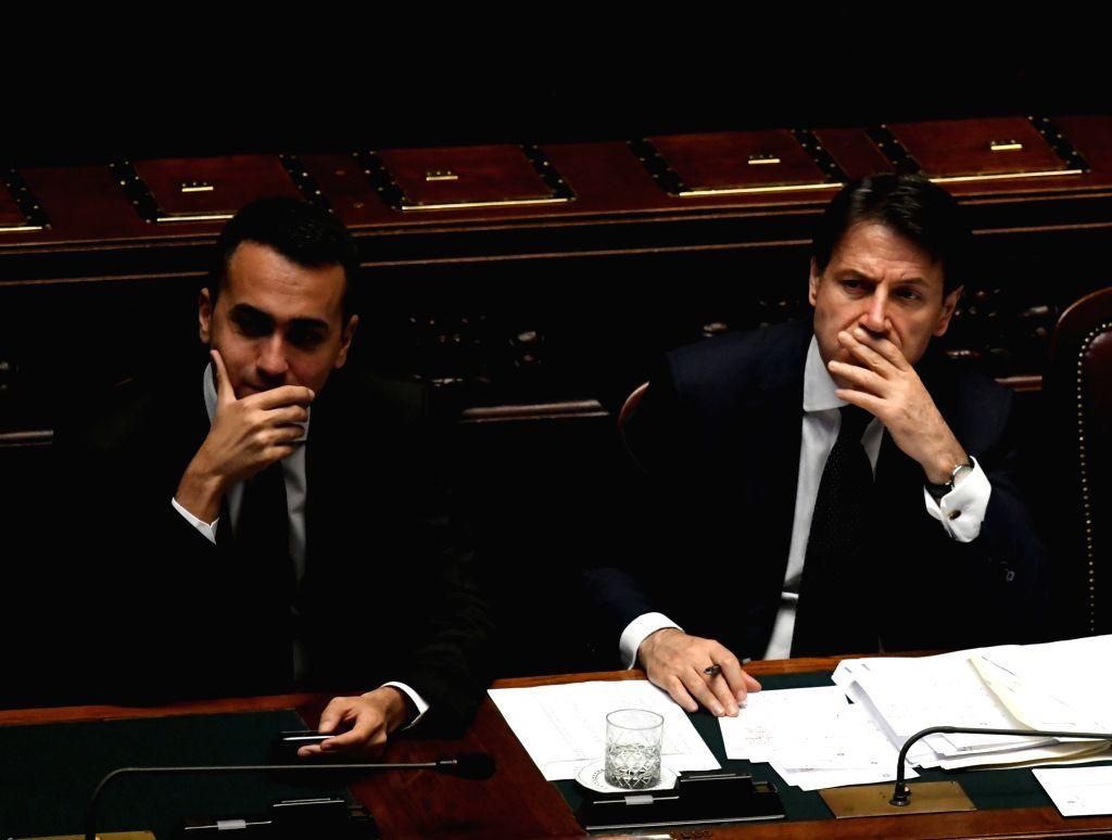 ROME, June 6, 2018 - Italian Prime Minister Giuseppe Conte (R) and Economic Development and Labour Minister Luigi Di Maio are seen in the lower house of Italy's parliament in Rome, Italy, on June 6, ... - Giuseppe Conte
