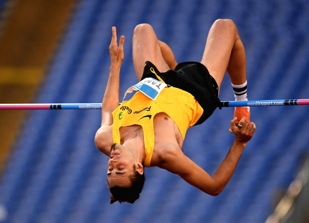 ROME, June 7, 2019 - Italy's Gianmarco Tamberi competes during the men's high jump final at the IAAF Rome Diamond League in Rome, Italy, June 6, 2019. Gianmarco Tamberi won the fourth.