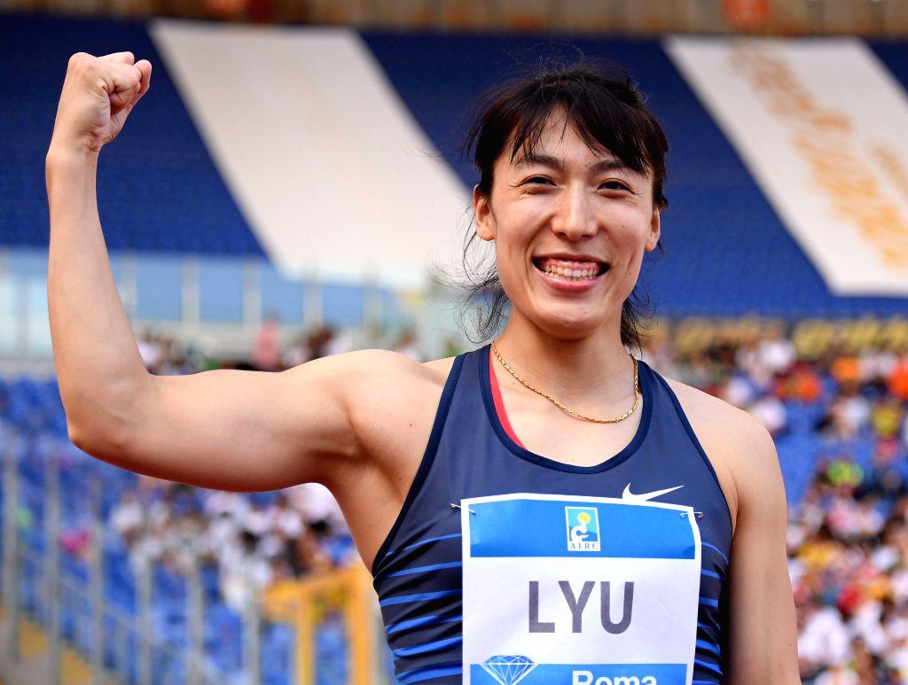 ROME, June 7, 2019 - Lyu Huihui of China celebrates after the women's javelin throw final at the IAAF Rome Diamond League in Rome, Italy, June 6, 2019. Lyu Huihui won the gold.