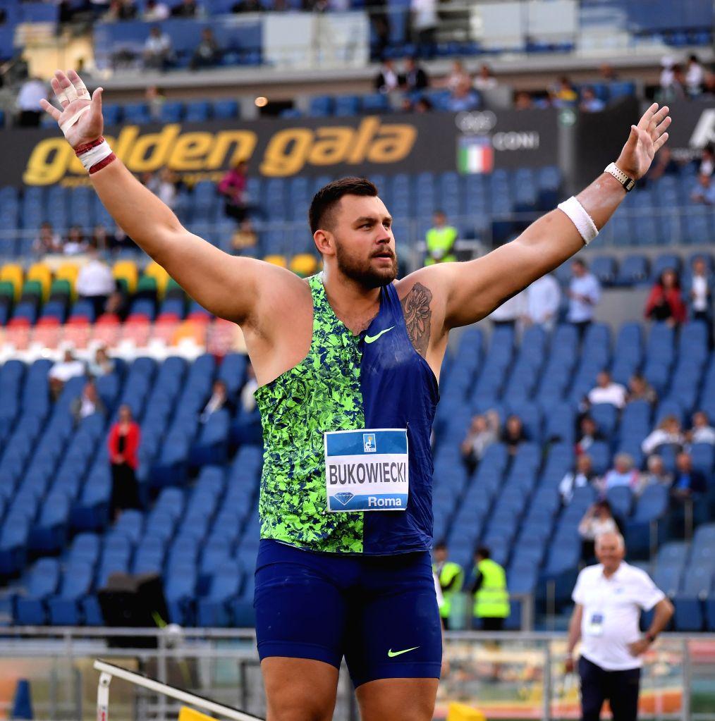 ROME, June 7, 2019 - Poland's Konrad Bukowiecki celebrates after the men's shot put final at the IAAF Rome Diamond League in Rome, Italy, June 6, 2019. Konrad Bukowiecki won the gold.