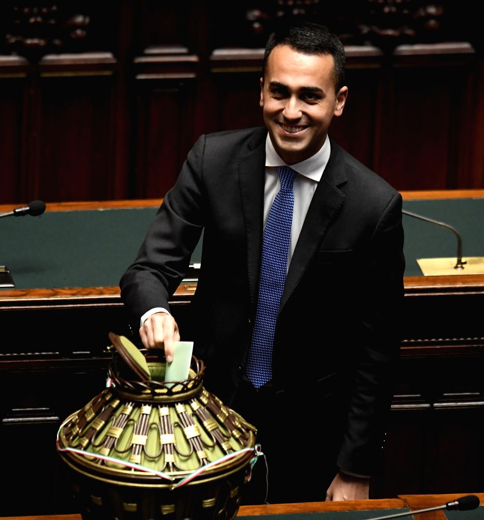 ROME, March 24, 2018 - Five Stars Movement chief Luigi Di Maio casts his vote at the lower house at the lower house of parliament in Rome, Italy, on March 24, 2018. Italy's center-right bloc and the ...