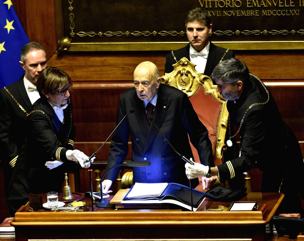 ROME, March 24, 2018 - Former Italian President Giorgio Napolitano (front C) speaks before the election of Senate's speaker at the Senate during the first session of parliament since the March 4 ...