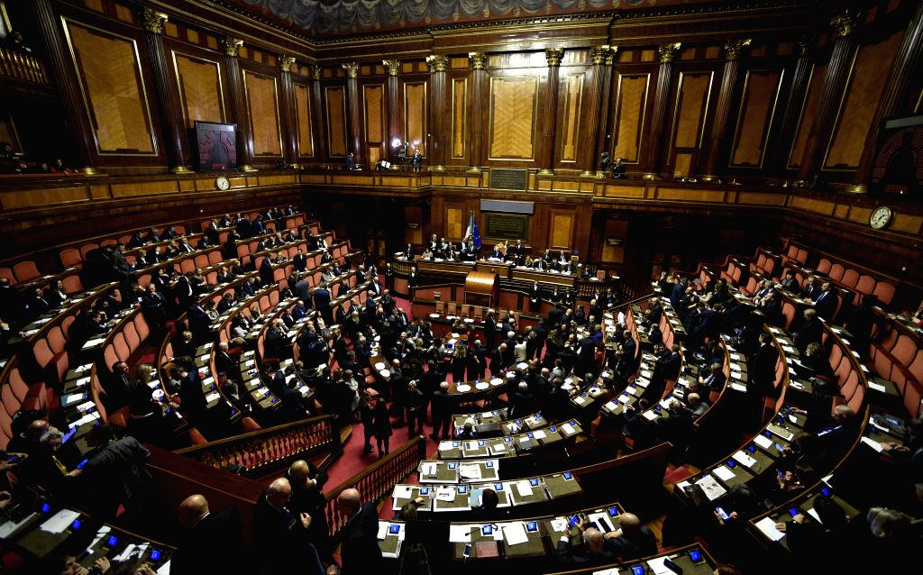 ROME, March 24, 2018 - Lawmakers attend the election of Senate's speaker at the Senate during the first session of parliament since the March 4 general election in Rome, Italy, March 23, 2018.